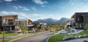 Street view rendering of modern houses with mountain views