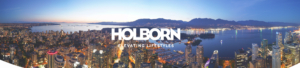Vancouver Skyline View from Penthouse with Holborn Logo overlay